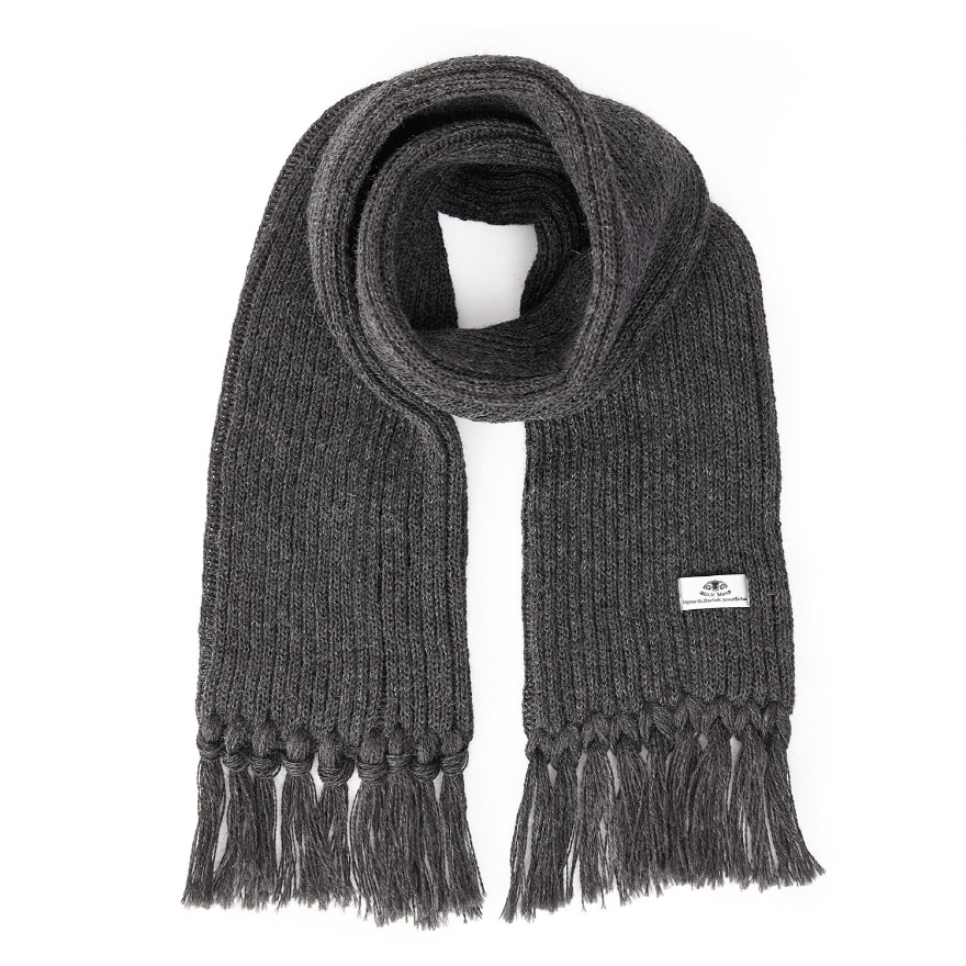 [재입고] Ribbed Scarf - Charcoal