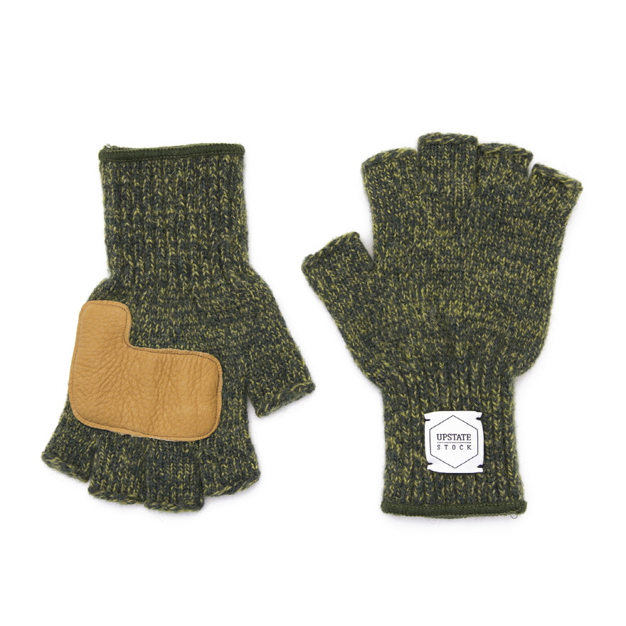 Fingerless Wool Glove (Palm Leather) - Olive