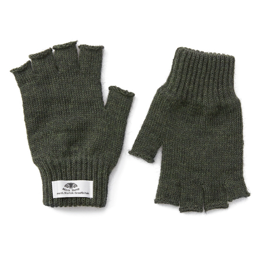 Fingerless Mitts - Moss Green