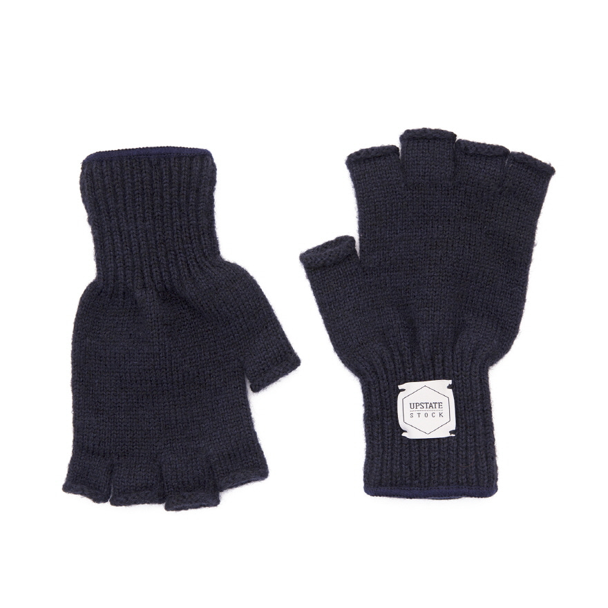 Fingerless Wool Glove - Navy