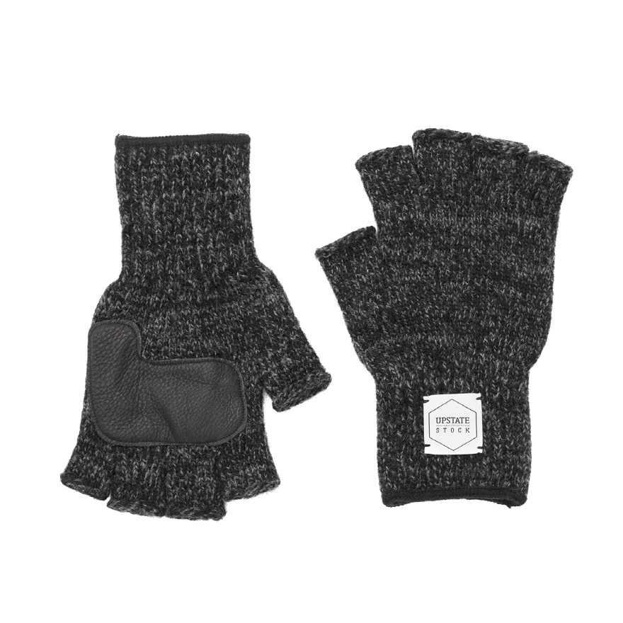 Fingerless Wool Glove (Palm Leather) - Black