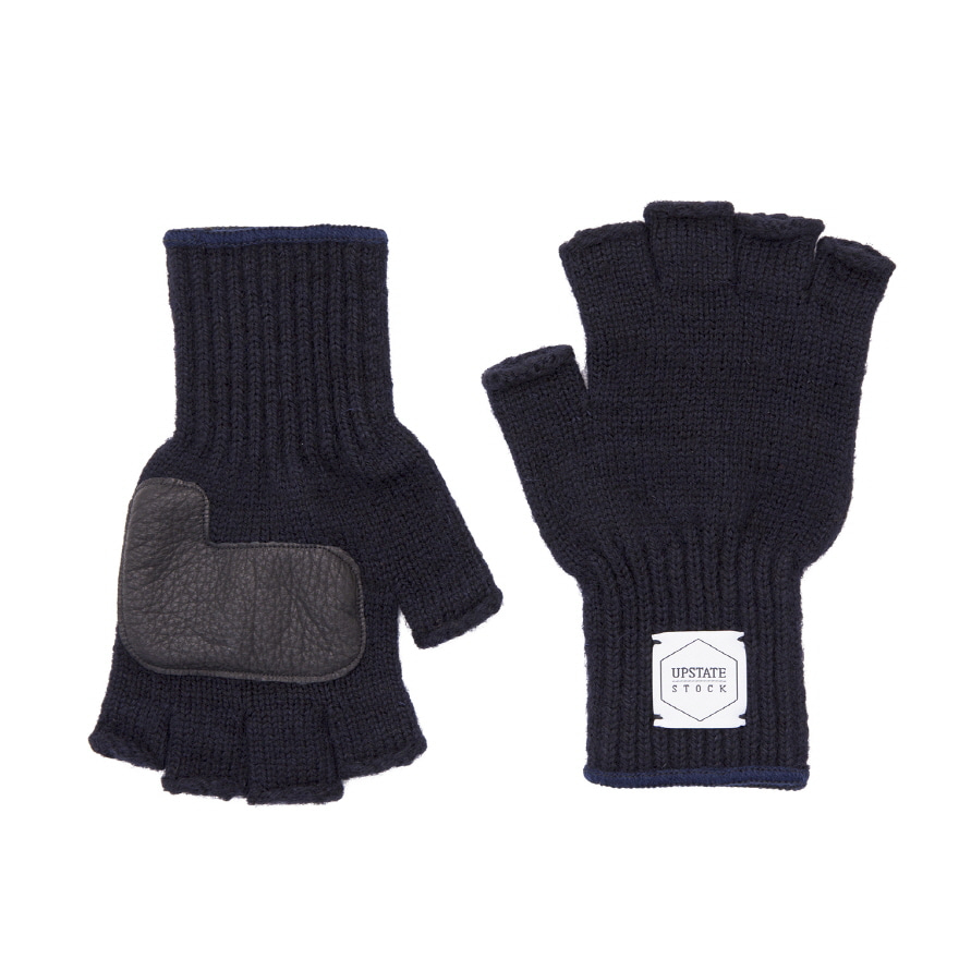 Fingerless Wool Glove (Palm Leather) - Navy