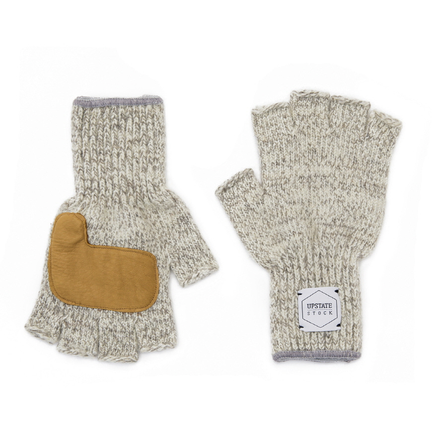 Fingerless Wool Glove (Palm Leather) - Oatmeal