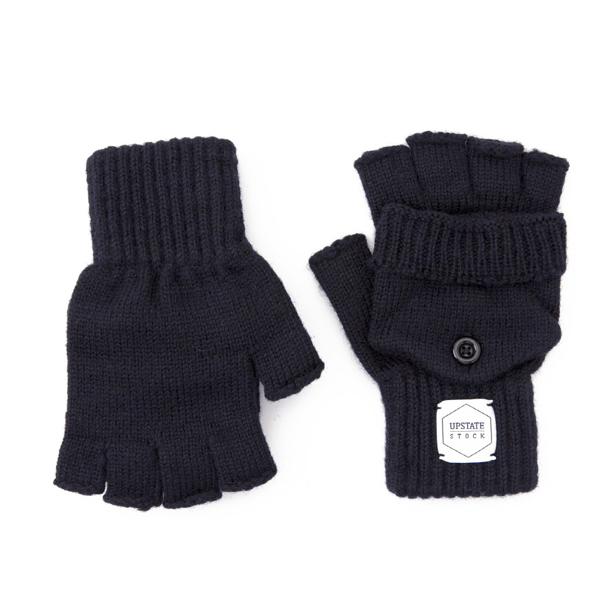 Fingerless Wool Glomitt Glove- Navy
