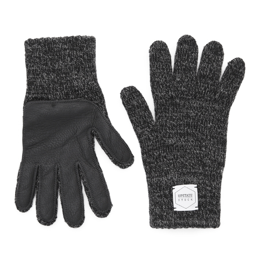 Wool Glove (Palm Leather) - Black