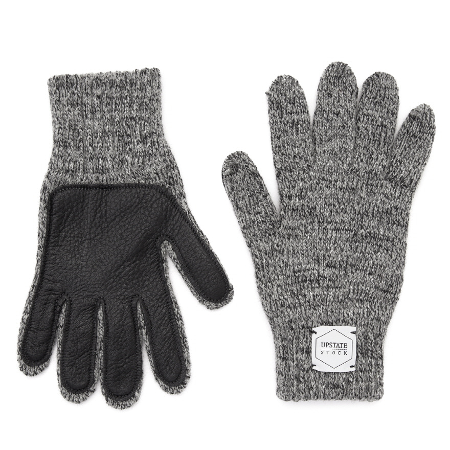 Wool Glove (Palm Leather) - Charcoal