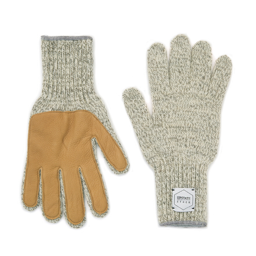 Wool Glove (Palm Leather) - Oatmeal