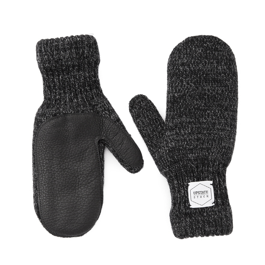 Mitten Wool Glove (Palm Leather) - Black