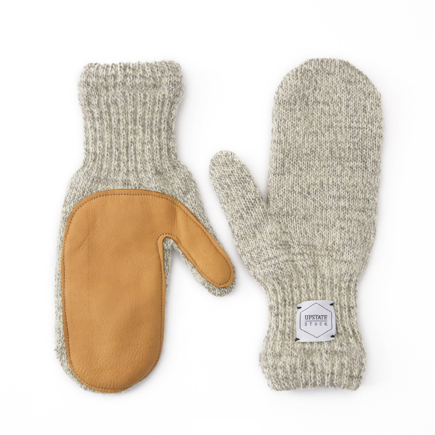 Mitten Wool Glove (Palm Leather) - Oatmeal