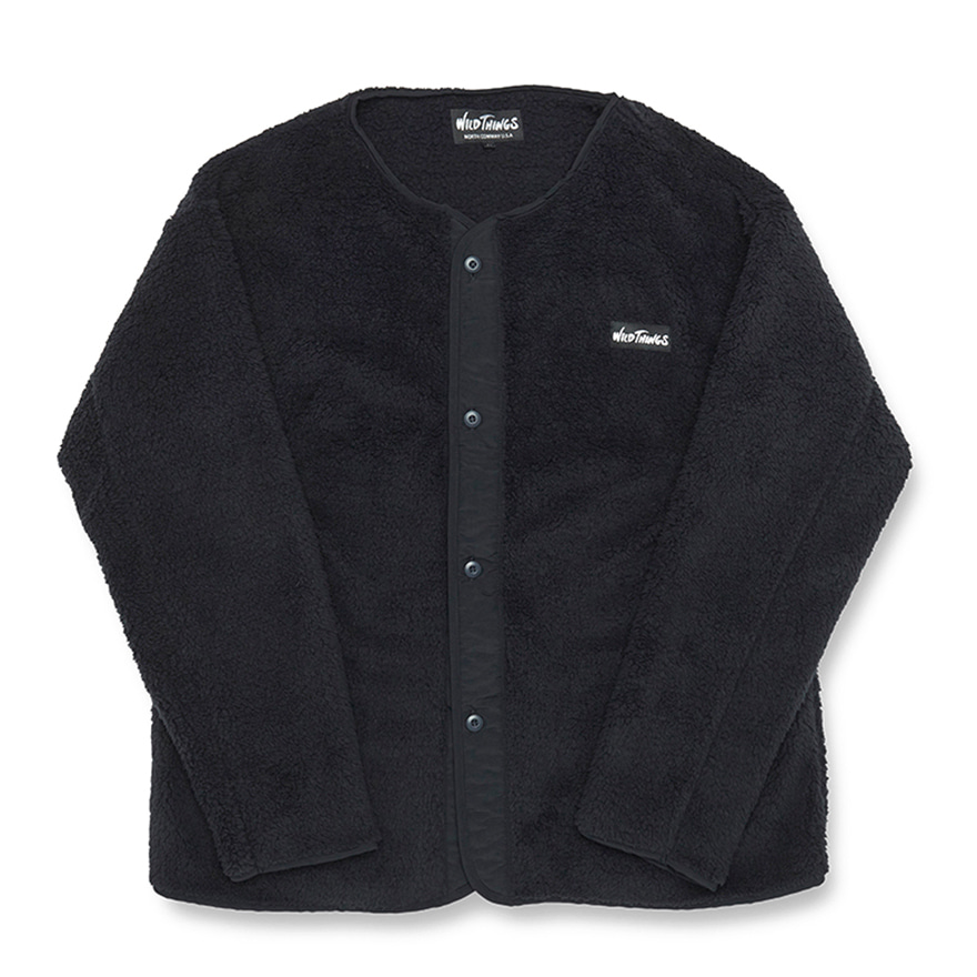 Pile Fleece No Collar Jacket - Black