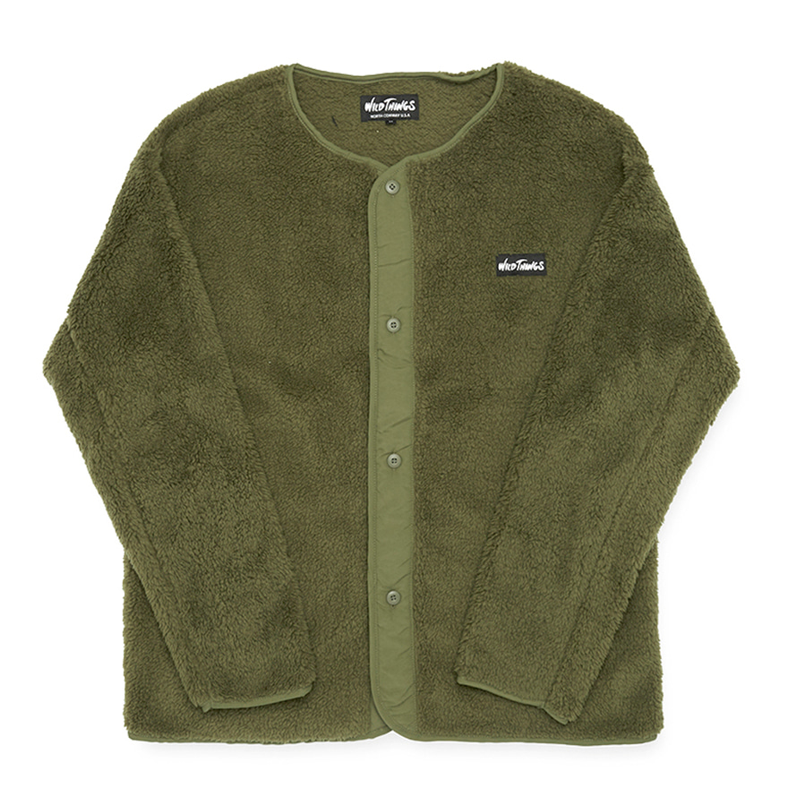 Pile Fleece No Collar Jacket - Olive