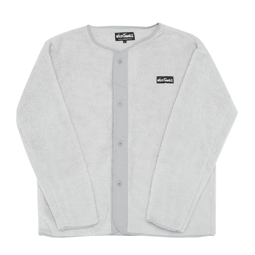 Pile Fleece No Collar Jacket - Silver