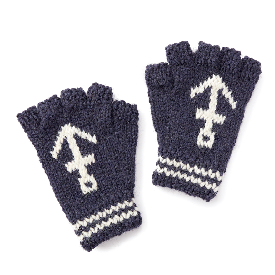 Anchor Fingerless - Navy/Ecru