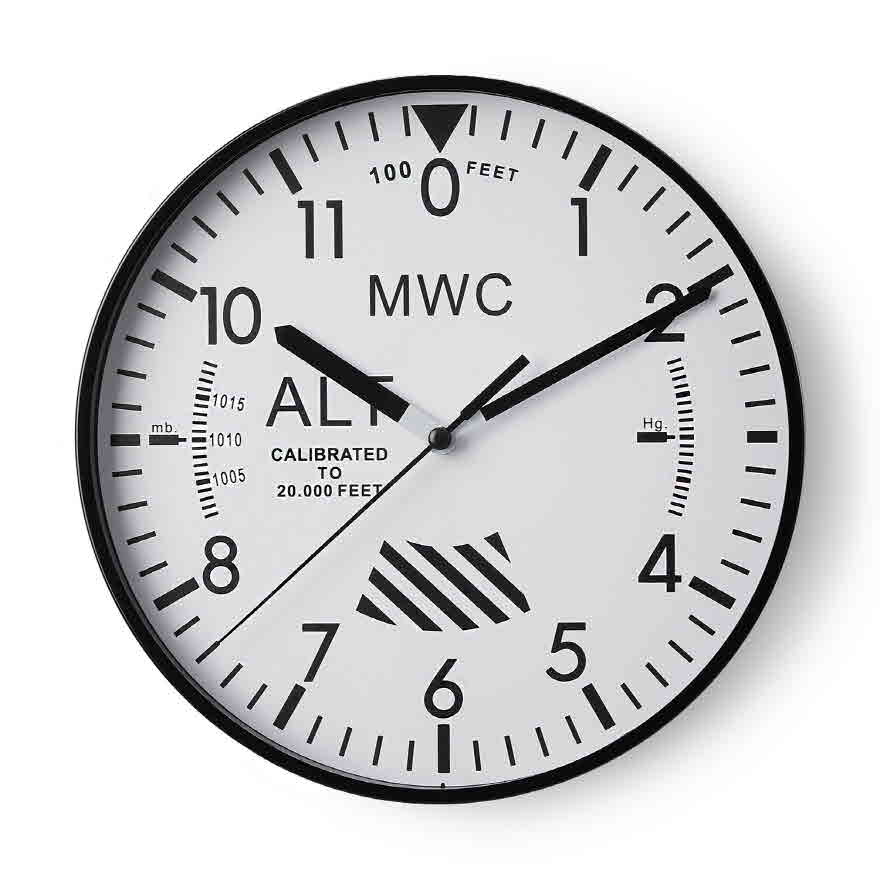 Altimeter Wall Clock - White